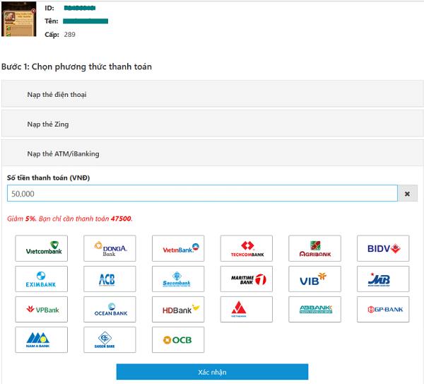Nạp tiền Ica qua web